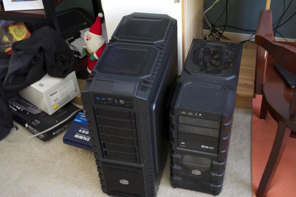 Full ATX case on the left, medium ATX case on the right