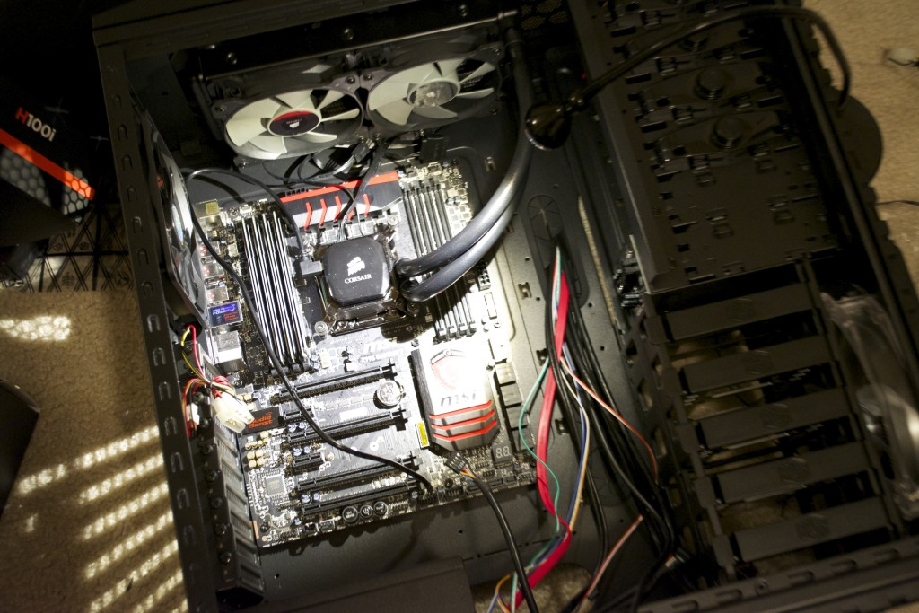 Computer with motherboard and CPU cooling installed